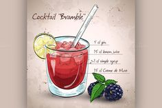 Alcoholic cocktail Bramble by Netkoff on Creative Market