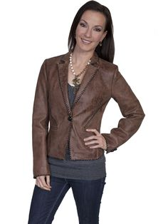 Scully Leatherwear Womens Buffed Lamb Brown Whip Stitch Jacket