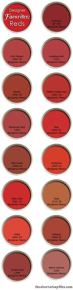 """Red Paint Colors: Favorite Picks From Designers. """"Benjamin Moore paints are closer to the sample chip than most."""" Tanna Espy Miller, """"Ask a Designer"""" columnist Red Paint Colors, Wall Colors, House Colors, Red Color, Front Door Colors, Front Doors, Red Rooms, Kitchen Paint, Kitchen Design"""