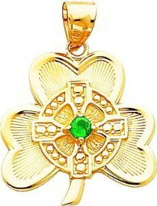 14K Gold Shamrock with Green CZ Stone Pendant - Jewelry Gifts for St. Patrick's Day