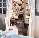 Use tie-back curtains to create a private office nook in a bedroom (ikea)