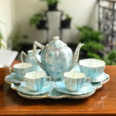 Beautiful & Vintage Blue Teaset by Wileman Foley England