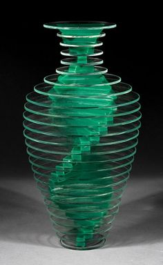 "Sidney Hutter (American, b. 1954), ""Vase #13"", c. 1988, from the Plate Glass Vase series, engraved signature and with edition number ""2/80"", green, cut, ground and polished glass, height 12 in., diameter 6 in"