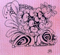 Rachel used this design from the book 'One Zentangle a Day' by B Krahula in order to practice a few techniques, including using a watercolour background.  After doing the background she cut the paper into little squares so she could make some mini zentangles for making greetings cards.