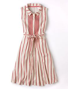 Boden Spring 2014 ~ Love how the stripes are sewn into tucks and released below the waist in a simple shirtwaist dress ~