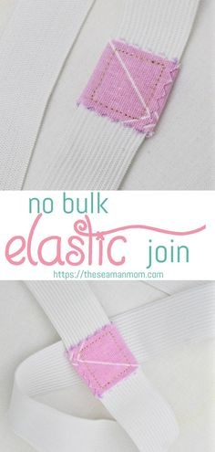 Joining elastic ends in your sewing projects doesn't have to involve heaving engineering and severe headaches! Not when you have easy sewing tricks like this elastic join tip! No bulk elastic join is Sewing Hacks, Sewing Tutorials, Sewing Tips, Sewing Basics, Fat Quarter Projects, Techniques Couture, Leftover Fabric, Love Sewing, Sewing Projects For Beginners