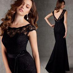 4301f2cef548bb Goedkope Gratis verzending avondjurk zwart kant gewaad de soiree lange  diner jurk riem v hals sexy