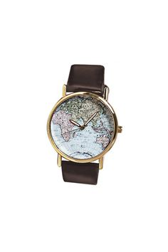 Map Patterned Watch with Round Dial and Leather Watch Band for Women Map Watch, Skeleton Watches, Cheap Accessories, Leather Watch Bands, Fashion Sale, Retro Fashion, Gold Bands, Leather Jewelry, Vintage Watches
