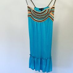 "Turquoise Crochet Dress NEW! Brand new never worn without tags, Adorable Turquoise dress with orange,navy and Ivory crocheted top part and straps!!! ☀️Loose fitting, Measures 34""Length and 18""Bust Dresses Mini"