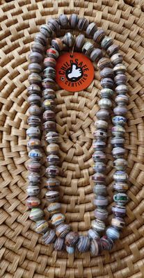 Paper Beads Necklace handmade in Cambodia Fair Trade and Child Safe Certified $14.99