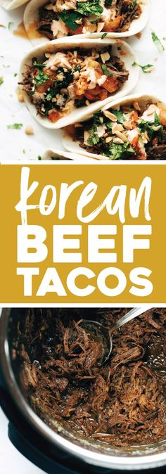Instant Pot Korean Beef Tacos! holy yum. with beef, kimchi, cilantro, peanuts, all tucked into a flour tortilla. #tacos #koreanbbq #fusion #foodtruck #beef #kimchi #instantpot #dinner | pinchofyum.com