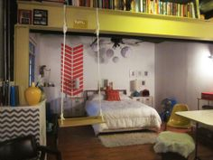 I want a swing in my room!!!!    Somer's Creative Freedom Bedroom