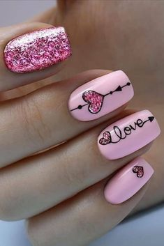 valentin nägel kunst art des ongles de la saint-valentin - Care - Skin care , beauty ideas and skin care tips Valentine's Day Nail Designs, Acrylic Nail Designs, Nails Design, Heart Nail Designs, Minimalist Nails, Valentine Nail Art, Saint Valentine, Nails For Valentines Day, Kids Valentines