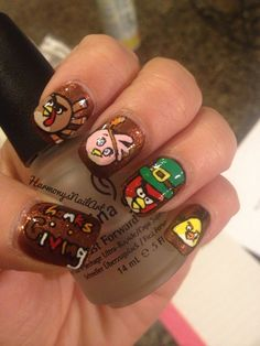 Angry Birds Thanksgiving Nails