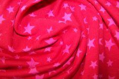 Baumwoll Shirt Jersey Stoff Bündchen Sterne Stars Bonnie rosa himbeere J.Swafing