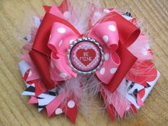 VALENTINE'S DAY Hair Bow OOT Over the Top by PolkaDotzBowtique, $12.99