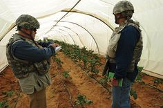 Human Terrain Team social scientist with interpreter inspect conditions at U.S. Department of Defense–funded Al-Arshad Desert School Agricultural Research Center, Najaf Province, Iraq U.S. Army (Charles M. Willingham)