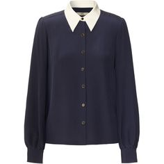 Orla Kiely Colour Block Crepe Blouse ($160) ❤ liked on Polyvore featuring tops, blouses, shirts, sweaters, navy, long sleeve tops, navy long sleeve shirt, long sleeve shirts, shirt blouse and navy blue long sleeve shirt
