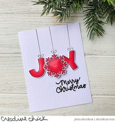 Get Cracking: JOY | {creative chick} | shurkus.com Christmas Cards 2018, Holiday Cards, Merry Christmas, Christmas Ornaments, Holiday Decor, Ink Pads, Gel Pens, More Fun, Card Stock