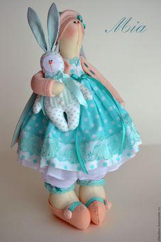 Купить Текстильная весенняя зайка Mia - Пасха, тильда, Декор, подарок для женщины, текстильные игрушки