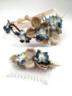 Blue floral head comb, bridesmaid blue hair accessory, woodland hair comb, Period hair piece, Downton abbey  hair accessory. beach wedding.