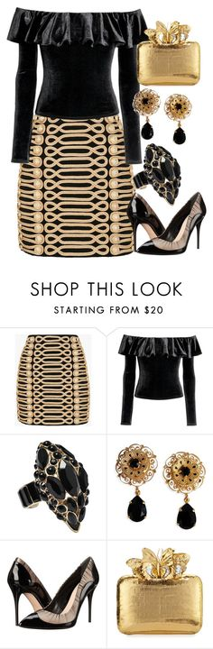 """""""Black and Gold"""" by lizf99 ❤ liked on Polyvore featuring Balmain, H&M, Roberto Cavalli, Dolce&Gabbana, Alexander McQueen and Nancy Gonzalez"""