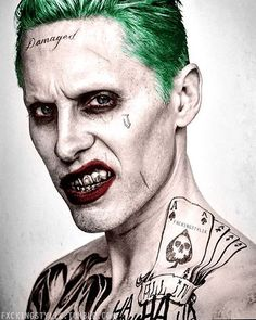 This joker loves tattoo, wears lipstick, has no mouth corner scar, has silver teeth and looks a bit annoyed. Or maybe MORE THAN A BIT. https://www.pinterest.com/KornDogJim/