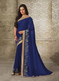 Mesmerizing Patch Border Work Navy Blue Casual Saree