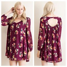 {Plum Floral Dress $45}   Comment below with PayPal to purchase and ship or comment for 24 hour hold  #repurposeboutique#loverepurpose#shoprepurpose#boutiquelove#style#trendy#fall#corkcicle