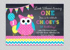 Chevron Owl Birthday Invitation by The Trendy Butterfly