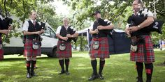 A pipe band practising at the World Pipe Band Championships, Glasgow Green
