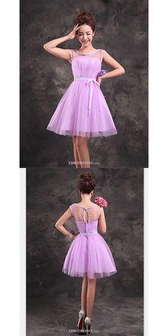 Short/Mini Tulle Bridesmaid Dress - Lilac A-line Scoop  #shortbridesmaiddress