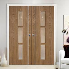 Sierra 3 Light Oak Door Pair with Clear Safety Glass is Fully Prefinished. #glazeddoorpair #internaldoorpair #internaloakdoor