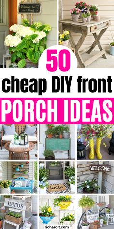50 Of the best front porch ideas that you need to make! These front porch DIY i. 50 Of the best front porch ideas that you need to make! These front porch DIY ideas will have your home looking beautiful once again! Front Porch Plants, Small Front Porches, Country Front Porches, Front Porch Garden, Summer Front Porches, Budget Patio, Diy Patio, Diy Porch, Porche Frontal