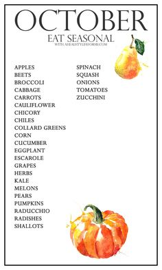 A healthy life: Eating Seasonal Produce Guide for October Healthy Life, Healthy Snacks, Healthy Eating, Healthy Recipes, Meal Recipes, Dinner Recipes, Copycat Recipes, Healthy Cooking, Healthy Habits