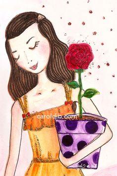Carol Dib - Menina com uma flor. Poster magnético: http://caroldib.com