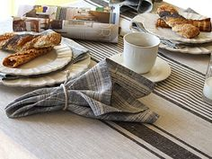 Provance Tablecloth Black and Multistripe Napkin from LinenMe