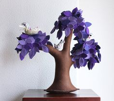 Lilac Weeping willow with a family of birds Felt Tree by Intres, $55.00