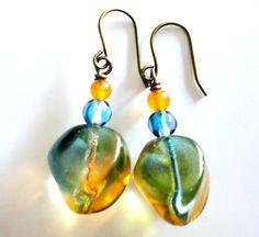 Orange Blue Glass Clear Spring Unusual Earrings by MajaEarrings, $12.00