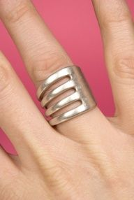 Silver Fork Ring - This one is a beauty! Handmade from an antique or vintage silver fork. No Instructions; but if you've ever had a metalsmithing class, you would be able to quickly figure it out.