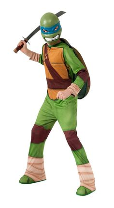 """Description #886755 Go out and save the world from evil as Ninja Turtle """"Leonardo"""" this year! Includes: Jumpsuit w/ attached shoe covers, 1/2 mask and shell. Sizes: S(4-6), M(8-10), L(12-14)"""