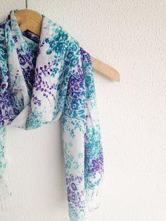 Blue Teal Purple Shawl Neckwarmer Fabric Scarf by cookieletta, $18.50