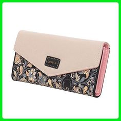 31bd1e8e5215 FUNOC Womens Envelope Leather Wallet Button Clutch Purse Long Handbag Zip  Bag (Black) -