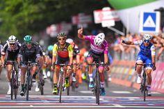 Fernando Gaviria sprints to his third win of the Giro d'Italia. Tom Dumoulin keeps the overall lead on the race's longest stage. Road Bike, Cycling, Stage, Bicycle, Third, Italia, Biking, Bike, Bicycle Kick