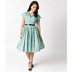 Bernie Dexter 1950s Mint & Kitten Print Kelly Cap Sleeve Swing Dress ($165) ❤ liked on Polyvore featuring dresses, green, green dress, white dresses, mint dresses, white trapeze dress and mint green dress