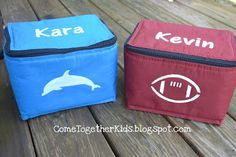 DIY Personalized Lunchboxes for Back To School! Create custom lunch boxes for your kids to take to school using stencils and an X-ACTO knife. Perfect for getting kids excited for the first day of school.