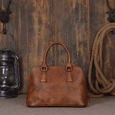 Vintage Retro Look Genuine Leather Tote Bag, Shopping Bag, Leather Messenger Bag Model Number: 9032...