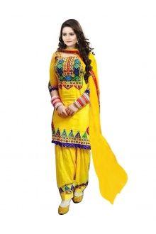 Artistic Yellow Cotton Designer Salwar Suit
