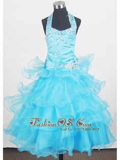 Beading Halter and Ruffled Layers Little Girl Pageant Dresses With Aqua Blue- $145.29  http://www.fashionos.com  http://www.facebook.com/quinceaneradress.fashionos.us  Glittering straps and the halter-top neckline have been encrusted in dazzling crystals. Pleats and appliques at the waistline makes for a splendid lead in to the gowns phenomenal skirt. Tiered layers on the full skirt completes the look. The corset style bodice is finished with a lace up tie back.