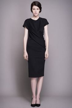 Black Stretch Dress With Twisted Front Detail click for more information Stretch Dress, Dresses For Work, Detail, Collection, Black, Fashion, Moda, Black People, Fasion